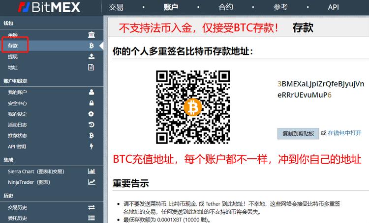 BitMEX存款