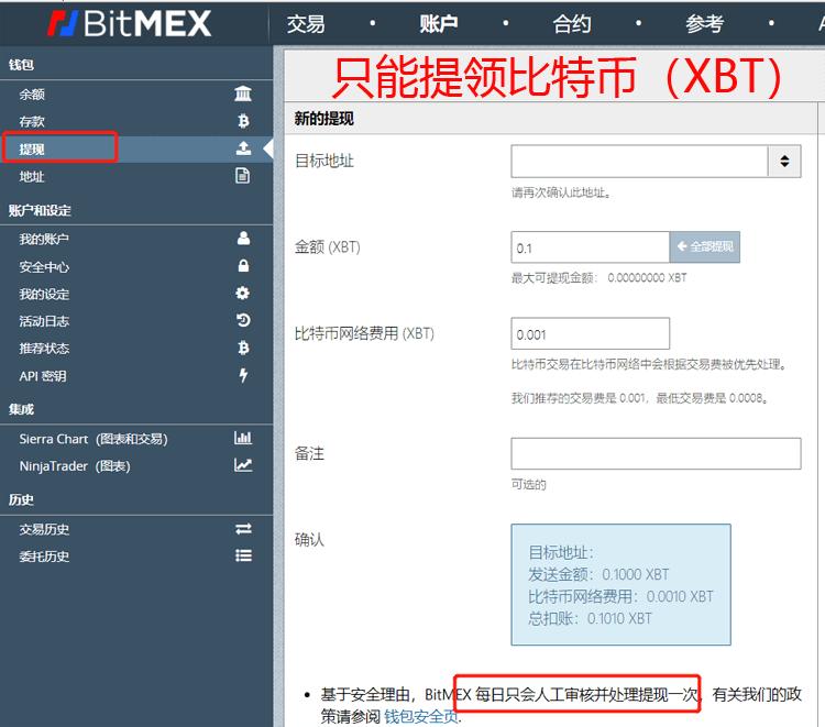 BitMEX提领出金